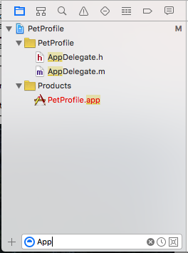 A view of the Xcode project navigator filtered to just show files starting with App