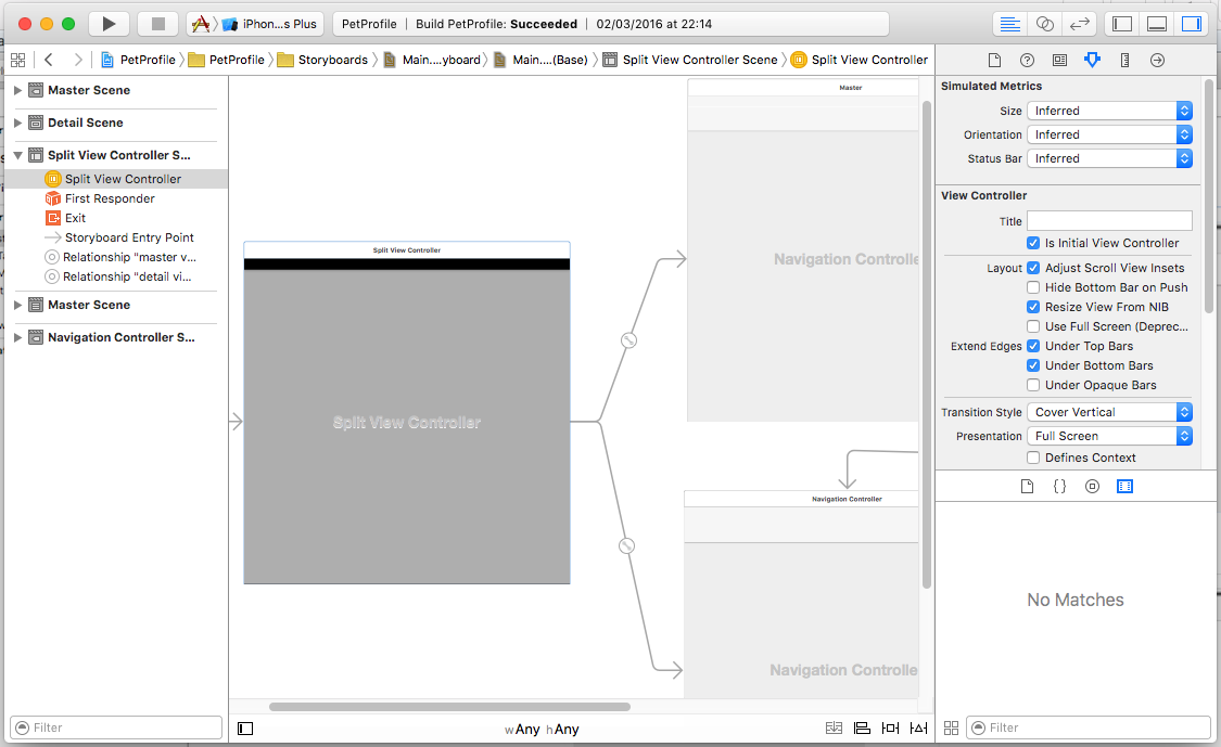 A view of the interface builder user interface.