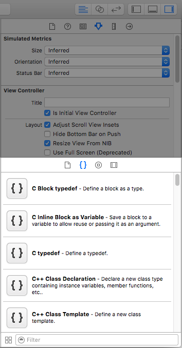A shot of the xcode utility area with the snippet sub section visible